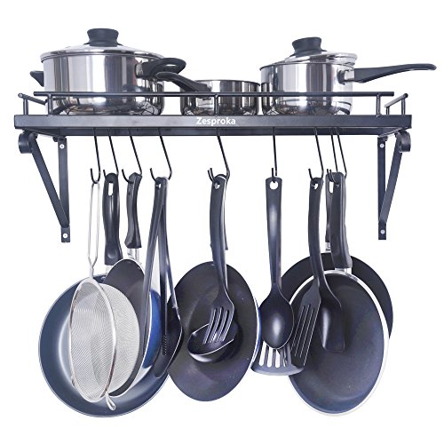 ZESPROKA Kitchen Wall Pot Pan Rack,With 10 Hooks,B...