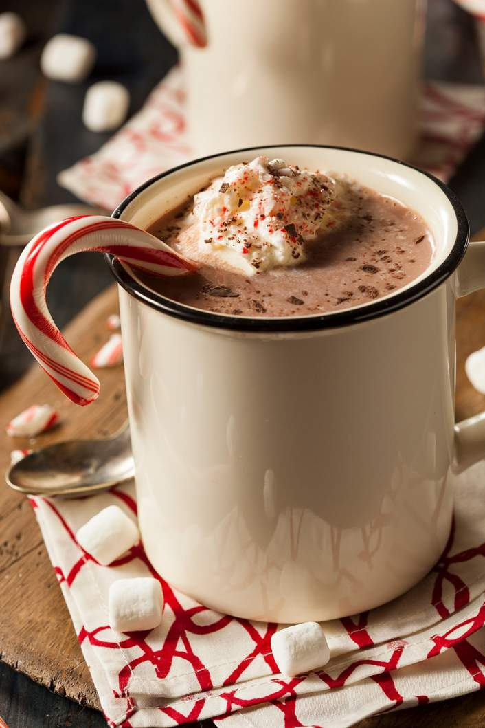 Healthy Peppermint Mocha in a mug with marshmallows.