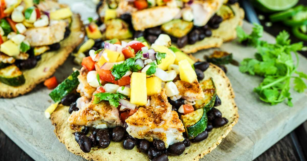 Blackened Salmon Tostadas - Slender Kitchen