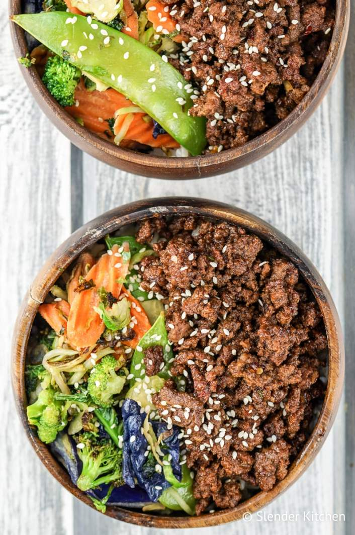 Healthy Korean Ground Beef Bowls with Vegetables are perfect for meal prep.