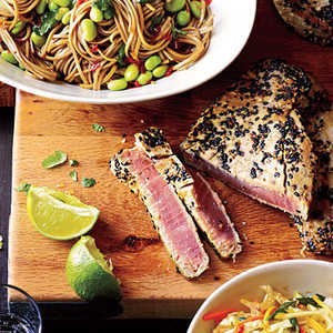 How to Cook Sesame Tuna with Edamame and Soba