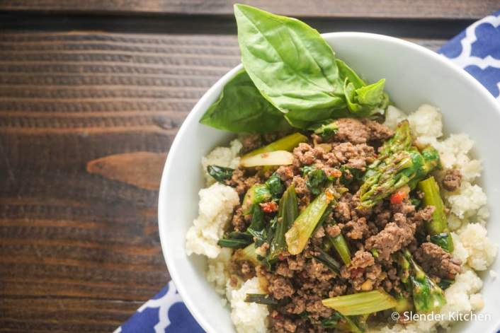 Thai Basil Ground Beef on a wooden board for dinner Wednesday on the WW Meal Plan.
