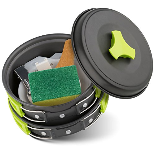 Camping Cookware Mess Kit 8 Piece, Lightweight Alu...