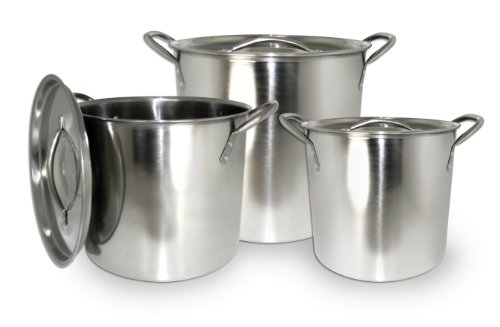 Excelsteel Set Of 3 Stainless Steel Stockpot With ...