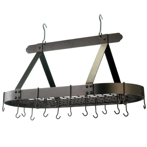 Old Dutch Oval Steel Pot Rack w. Grid & 16 Hooks, ...