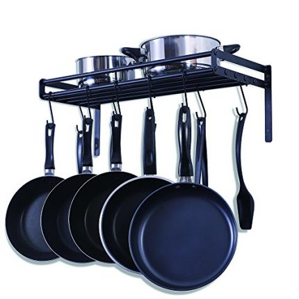 UNENCK Black Kitchen Wall Mount Pot Rack Iron Pot ...
