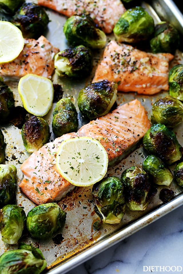 Garlic salmon with brussels sprouts on a sheet pan