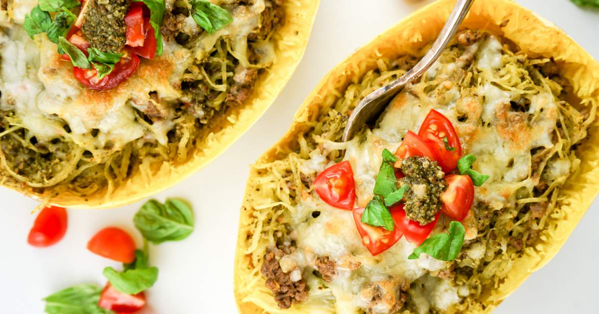 Pesto Spaghetti Squash with Turkey Sausage